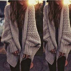 Fashion New Womens Oversized Loose Long Sleeve Knitted Sweater Batwing Sleeve Tops Cardigan Outwear Coat Black S M L XL XXL