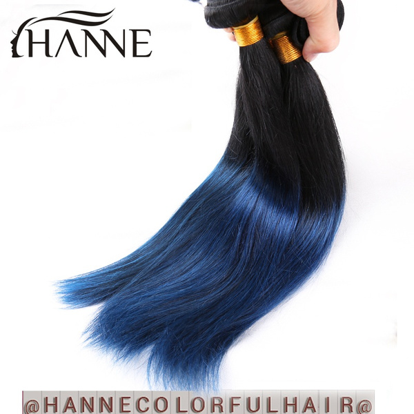 Wish Indian Hair Straight Colored Blue Human Hair Weave 4 Bunldes