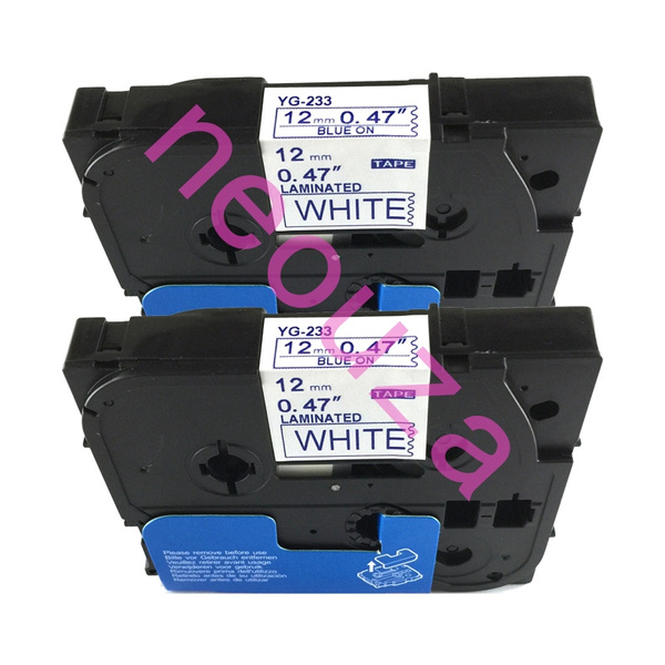 TZ233 TZe233 Blue on White Label Tape for Brother P-Touch PT-1280 0.47/'/'