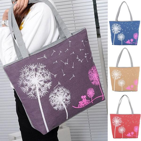 Picture of Woman Canvas Dandelion Zipper Wallet Fashion Lady Shoulder Handbag Bag