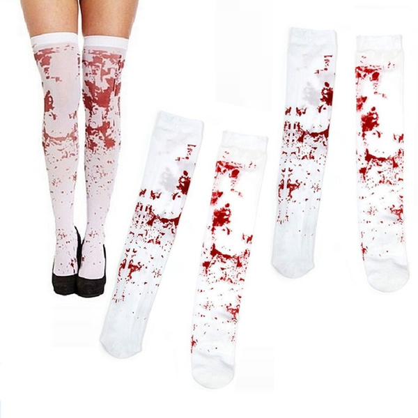 New Halloween Over the Knee Socks Fake Blood Stained Bloody Costume White Horror