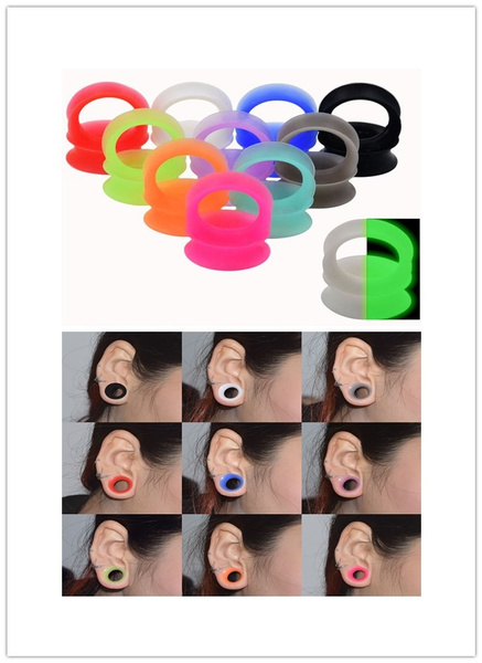 Picture of 1 Pair Thin Flexible Silicone Ear Skin Tunnels Plugs Ear Gauges Earskin Earlets