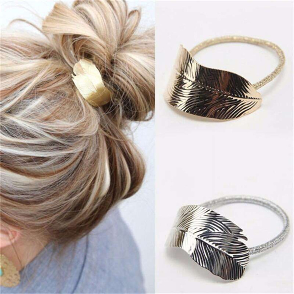 Korean Fashion Women Tree Leaf Shape Mental Hair Rope Elastic Rubber Band Headdress Rope