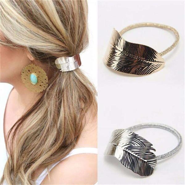 Korean Fashion Women Tree Leaf Shape Mental Hair Rope Elastic Rubber Band Headdress Rope