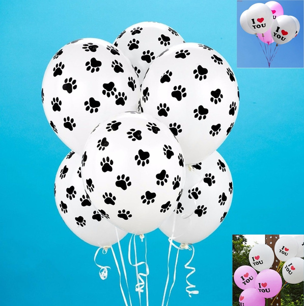 Picture of 10pcs Patrolling Dog Paw Prints Balloons Birthday Party Latex Balloon Decoration Supplies Kids Gift Toys White With Black