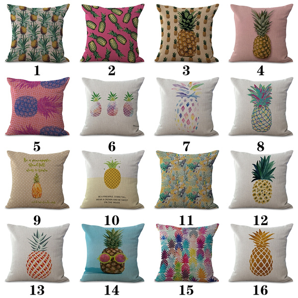 Picture of Square Cotton Linen Cushion Covers Pineapple Printed Decorative Living Bed Pillows Cover Sofa Decoration Gift