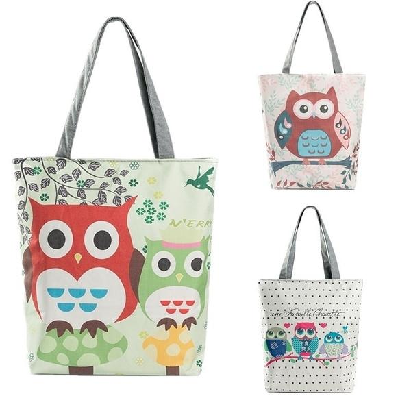 ceb271e2a91e Cute Owl Floral Printed Canvas Bags Tote Bag Women Female Fashion ...