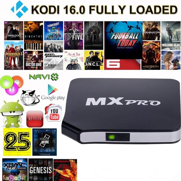 Hot Sale Fully Loaded KODI XBMC 16 0 MX Pro Quad Core Android Smart TV BOX  HD Free Sports