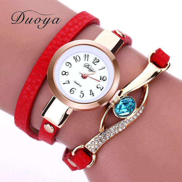 Picture of Duoya New Brand Eye Gemstone Luxury Watches Women Gold Bracelet Watch Dress Female Pu Leather Electronic Quartz Wristwatches