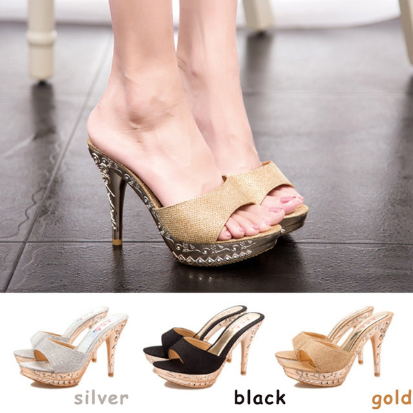 Picture of Women Sandals Rhinestone Decorated Ladies Sandal Women Slippers High Heels Fashion Shoes