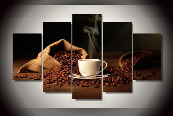 Wish Home Decor Coffee Bean And Cup Painting On Canvas Canvas