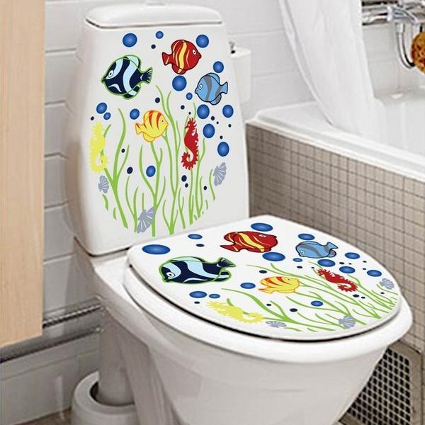 bathroomwallpaper, Bathroom, toiletseatsticker, Home Decor