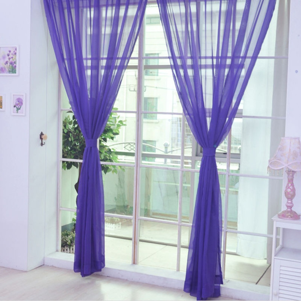 Colorful Floral Tulle Voile Door Window Curtain Sheer Valances Scarf New