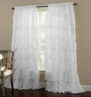 Multi-layer Lace Curtain for Girls Bedroom Semi-shade Blinds Sheer  Curtain(1PC)