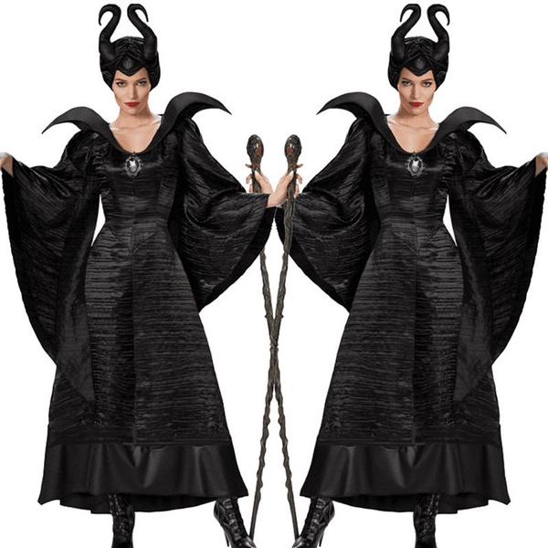 New Halloween Maleficent Adult Women Black Dress Christmas Fancy Ball Gown Costume M 2xl Size