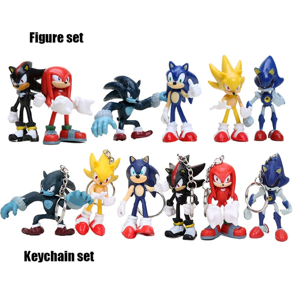 6pcs Set Sonic The Hedgehog Sonic Shadow Tails Knuckles Pvc Action Figure Collectible Model Toys Wish