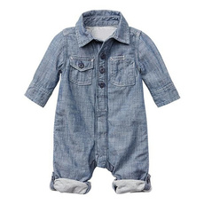 Baby' Fashion Long Sleeve Turn-down Neck Denim Jumpsuits Unisex Kids' Clothing Baby Rompers