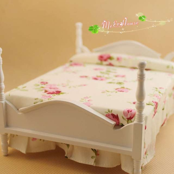 Wish | High Quality Doll House Miniature Cannonball Bed White and ...
