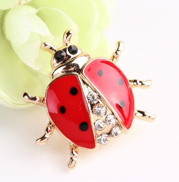 Cute Ladybug Animal Cartoon Crystal Rhinestone Insects Brooch Pin Jewellery