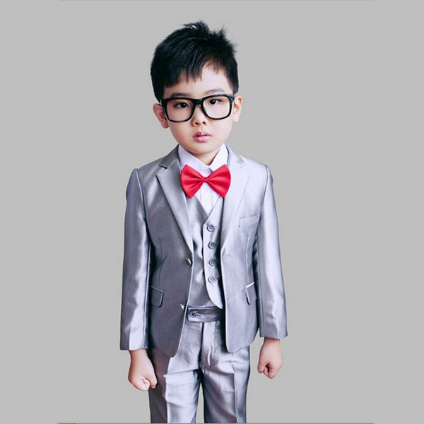 4 12years Boys Wedding Suits Kids Blazer Suit Page Boy Outfits Children Formal Clothing Sets 3 Pieces Tuxedos For Weddings Navy Black Gray White