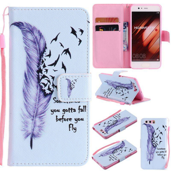 Picture of Fashion Flip Cover Charming Feather Painted Pattern Drop Resistance Pu Leather Wallet Card Slots Protective Mobile Phone Bag Case For Iphone 5s Se 5c 6 6splus /Samsung Galaxy S4 S5 S6edge Plus S7edge S7plus Note7 J510 J710a310 A5 A510 A710/ls770