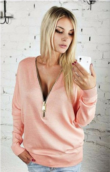 Women Sexy Fashion Batwing Sleeve Blouse Deep V Collar Zipper Sweater Long Sleeved T-shirt Plus Size S-5XL
