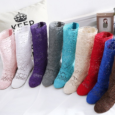 Picture of 12 Colors Women Boots Knitted Hollow High Boots Fashion Womans Cool Botas Mesh Breathable Shoes Womens Single Shoe