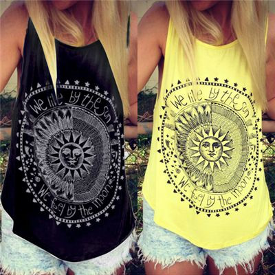 Picture of Sleeveless Casual Tank Tops Ladies O-neck We Live By The Sun Print Tops