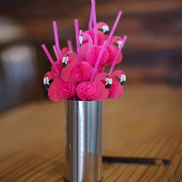 10Pcs/Set Bendable Plastic Flamingo Cocktails Drinking Straws Birthday Wedding Party