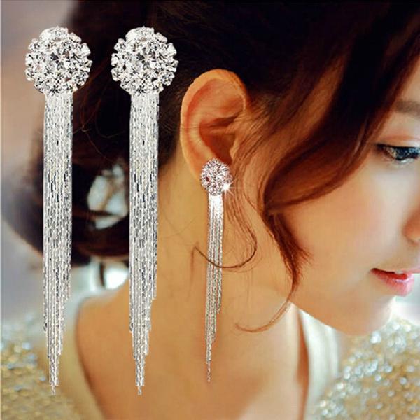 Tassels, DIAMOND, Jewelry, longdiamondearring