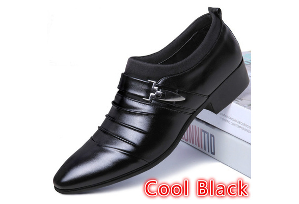 New British Men's Leather Shoes Fashion Man Pointed Toe Formal Wedding Shoes Male Flats Dress Shoes Size 38-44