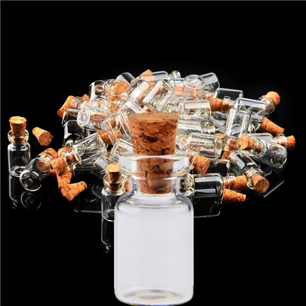 Picture of 50pcs 0.5ml Mini Clear Glass Bottle Wishing Bottle Vials Empty Sample Jars With Cork Stopper Message Weddings Wish Jewelry Party Favors