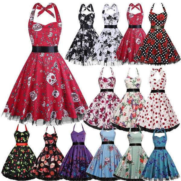 Swing dress, slim, pleated dress, Vintage