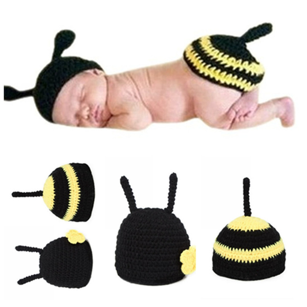 7336e4777 Newborn Baby Girl Boy Crochet Knit Hat Yellow Bee Costume ...