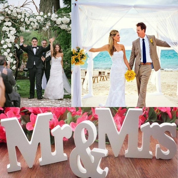 Picture of 3 Pcs/set Mr Mrs Wooden Letters Sign Wedding Decoration Romantic Mariage Birthday Party Decor