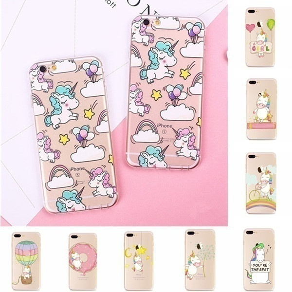 Cute Unicorn Patterned Clear Soft Silicone TPU Case Cover for IPhone 5 5S SE 6 6S 7 Plus