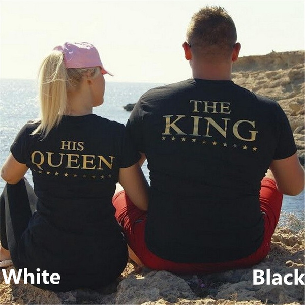 d2e822848a Men/Women Fashion Black Couple Clothes THE KING/HIS Queen Golden ...