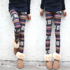 Womens Xmas Snowflake Reindeer Knitted Tights Pants Warm Leggings Skinny Slim Pencil Pants Trousers