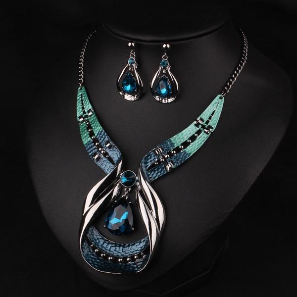 Moda blueJewelry Sets Purple Enamel Jewelry statement Necklace And Earring Set Crystal Jewelry Set