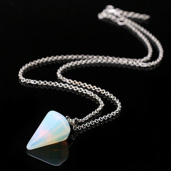 Natural Gemstone Crystal Healing Chakra Reiki Silver Stone Bead Pendant Necklace DYY1552/h1