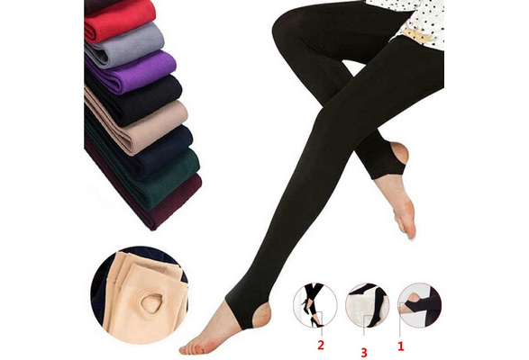 Women's Soft Autumn Winter Warm Cotton Pants Stirrup Monolayer Brushed Pants Female Panty-hose Leggings Comfortable