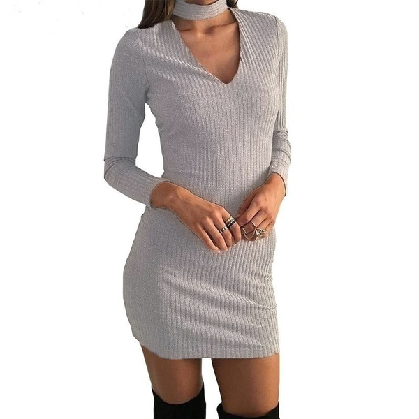 Winter Autumn Dress Women  Long Sleeve Sexy Party Black Knitted Dress Casual Bodycon Dress Vestidos Short Sweater Dresses