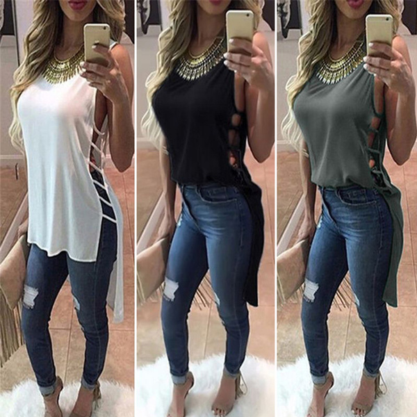 Fashion Sexy Womens Summer Vest Sleeveless Blouse Casual Tank Tops T-Shirt Hollow Out Tees