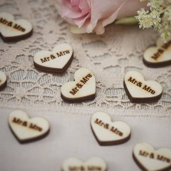 Picture of 50x Confetti Hearts Table Favors Wood Mr Mrs Scatter Reception Shabby Chic Szs