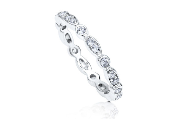 Women Wedding Jewelry 925 Sterling Silver 0.49 Carat Round White Topaz Anniversary Eternity Band Ring