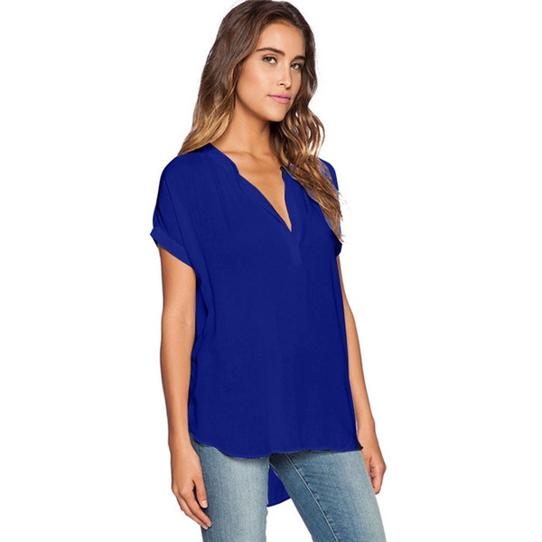 S-4XL Plus Size Women Sexy V Neck Chiffon Blouse Ladies Summer Short Sleeve Slim T Shirt Leisure Bodycon Tops