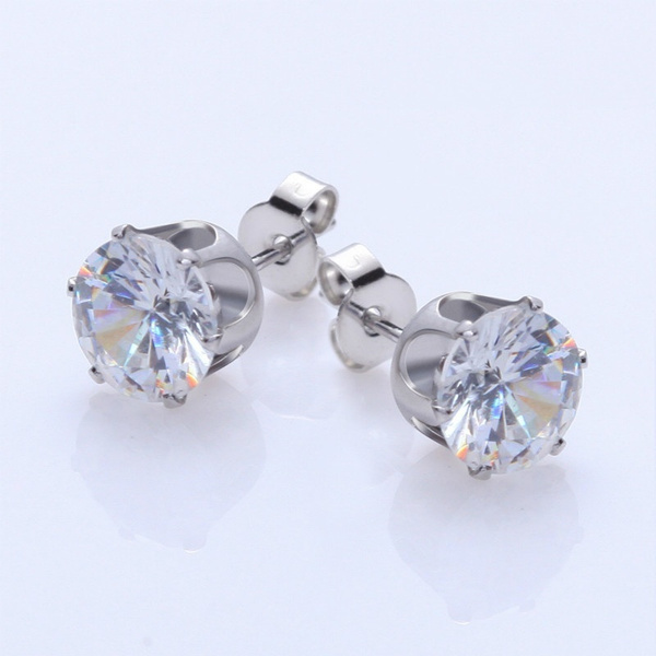 6 Pairs Men and Women Fashion Zircon Stud Earrings Black and White Colors