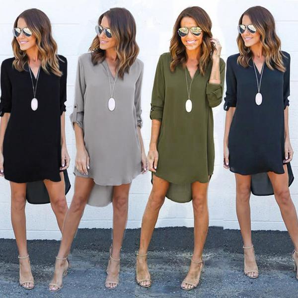 c305856ee65 Summer Autumn Women Casual Long Sleeve Chiffon Dresses Ladies ...