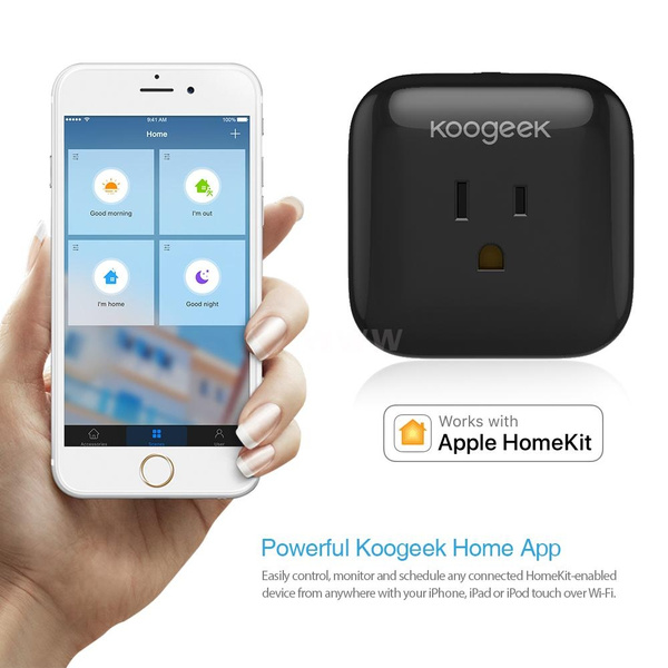 Koogeek Home Smart Plug Wi-Fi Enabled with Apple HomeKit Technology Support  Siri Control Electronics Monitor Energy Consumption from Anywhere Smart