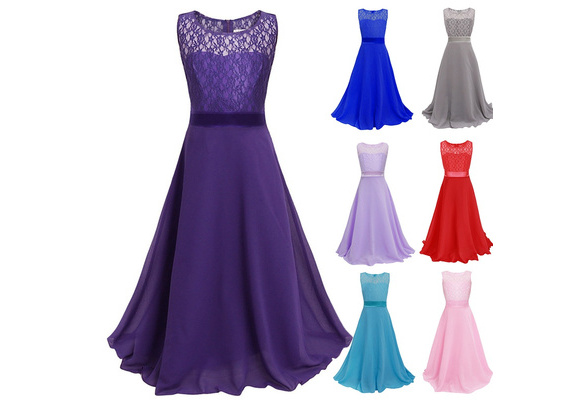 Gorgeous Flowers Girls Lace Dresses for Wedding Party Princess Floor-length Formal Dress Girl Teenage Kids Clothes